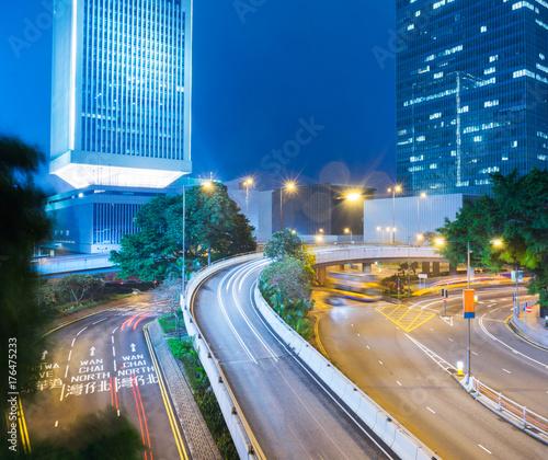 Foto op Aluminium Nacht snelweg traffic trails in downtown hong kong,china,asia.