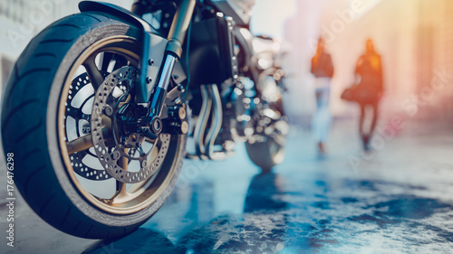 Motorcycle Wheels There is a woman back in the city.3d redering and illustration.