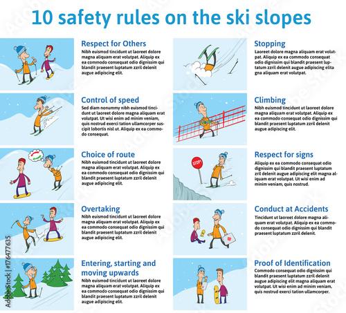 10 safety Rules on the Ski Slopes Fototapet