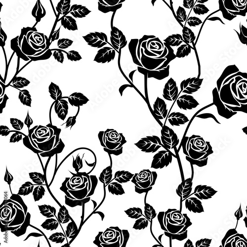 Rose Seamless Pattern Black And White Seamless Pattern With Flowers