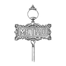 Vintage Metro Sign. Hand Drawn...