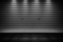 Garage Or Factory Storage Gate Roller Shutter Doors Metal Floor Building With Lighting Background