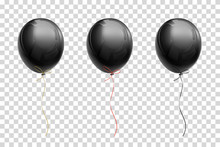 Black Flying Balloon With Ribb...