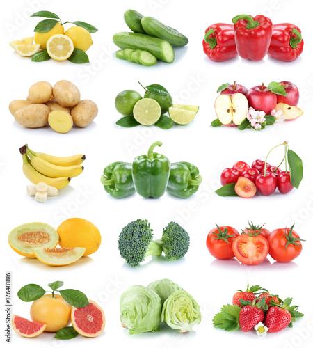 Obst und Gemüse Früchte Apfel Erdbeeren Tomaten Farben Collage Freisteller freigestellt isoliert © Markus Mainka
