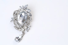 Brooch With Silver Flowers And...