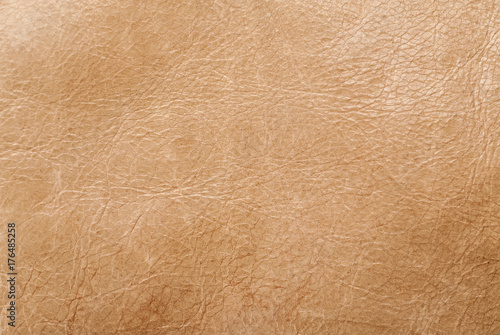 Fotografie, Obraz  Brown used leather abstract texture, macro shot