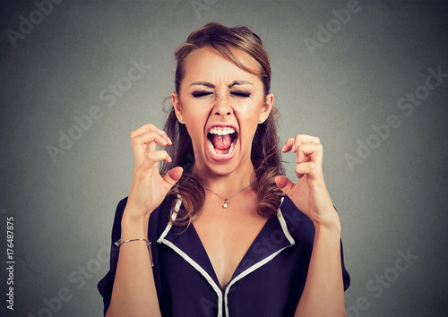 Angry frustrated woman screaming Fototapet