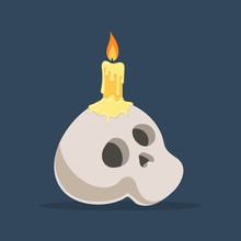 Skull With Burning Candle