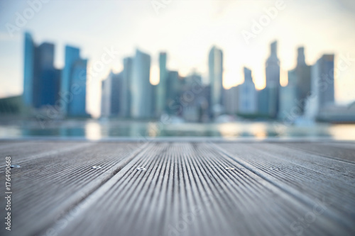 Blurred background image of Singapore city skyline of business district downtown in daytime Wallpaper Mural