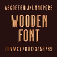 Wood Retro Alphabet Vector Fon...