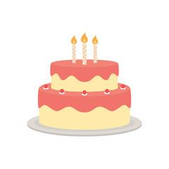 Fototapeta Birthday cake vector isolated illustration
