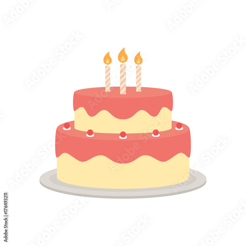Stampa su Tela Birthday cake vector isolated illustration