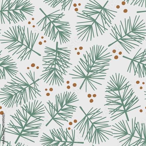 mata magnetyczna Fir tree branch seamless pattern, winter background