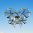 one military quadrocopter drone with camera, camouflage paint isolated render