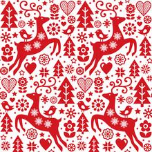 Christmas Folk Red Seamless Ve...