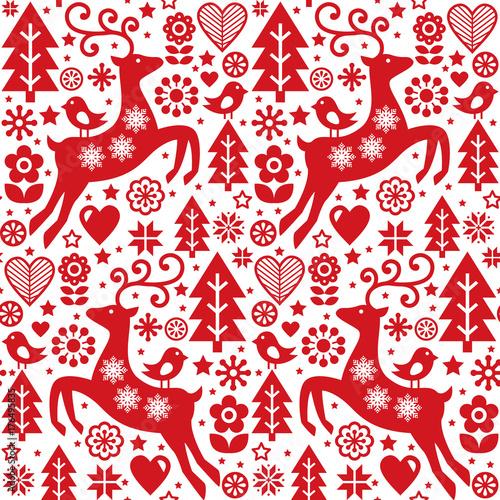 Stoffe zum Nähen Weihnachten folk rot nahtlose Vektormuster, skandinavischen Volkskunst, Rentier, Vögel und Blumen Dekoration, Tapete