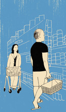 Illustration Of Man And Woman Shopping In Supermarket