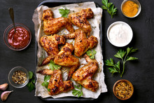 Grilled Chicken Wings, Top View