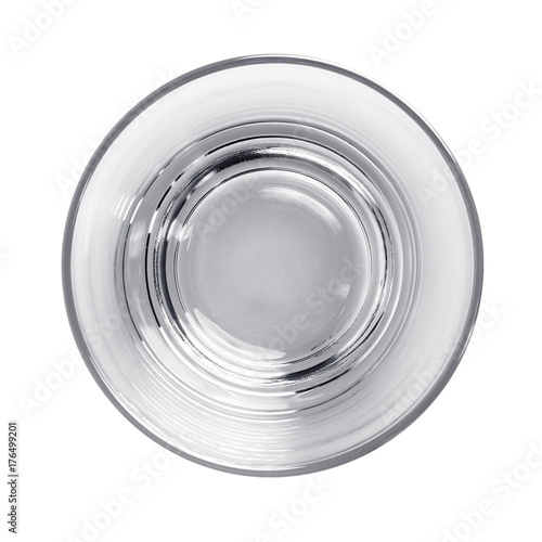 Empty water glass top view with clipping path