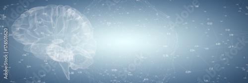 Obraz Composite image of 3d illustration of human brain  - fototapety do salonu