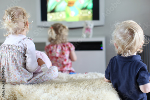 kids watching tv together, teletubbies Poster