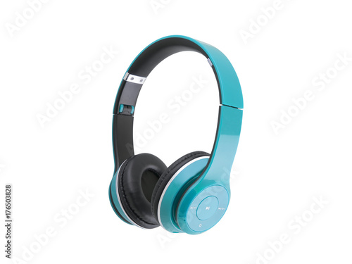 Blue headphones isolated on a white background Poster Mural XXL