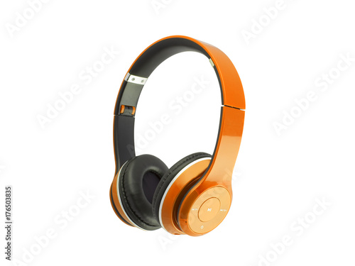 Orange headphones isolated on a white background Poster Mural XXL
