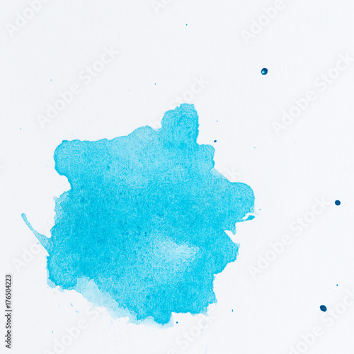 Azure blue paint splatter  Paint splash on white background