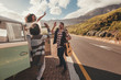 canvas print picture - Group of friends enjoying on road trip