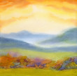 Watercolor landscape. Sunset over mountains