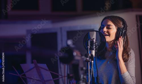 Playback singer recording album in the studio
