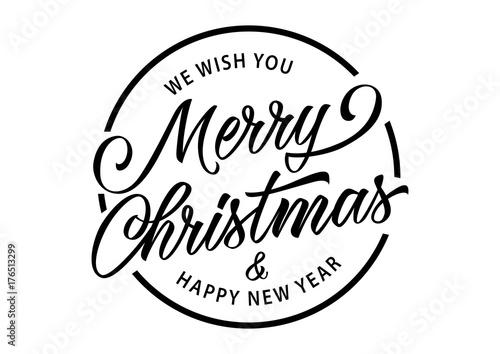 Obraz na plátně Merry Christmas Inscription in Circle