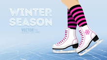 Pair Of White Ice Skates. Figure Skating. Women's Ice Skates. Texture Of Ice Surface. Winter Sports. Vector Illustration Background. Banner.