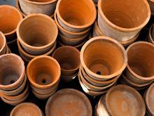 Empty Ceramic Brown Flower Pots