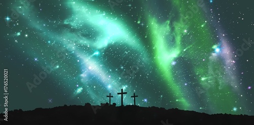 Obraz na plátně  Cross religion symbol shape over sky with aurora borealis