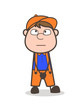 Cartoon Worker Thinking Face Vector