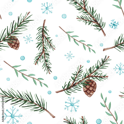 Cotton fabric Seamless Pattern of Watercolor Fir Branches and Snow