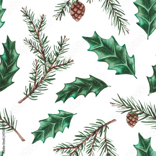 Cotton fabric Seamless Pattern of Watercolor Holly Leaves and Fir Branches
