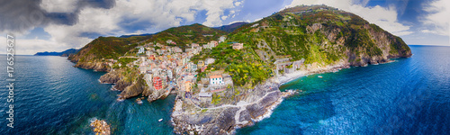 Photo sur Toile Ligurie Aerial panoramic view of Riomaggiore from the Sea, Five Lands - Liguria - Italy