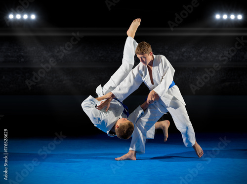 Garden Poster Martial arts Boys martial arts fighters in sports hall
