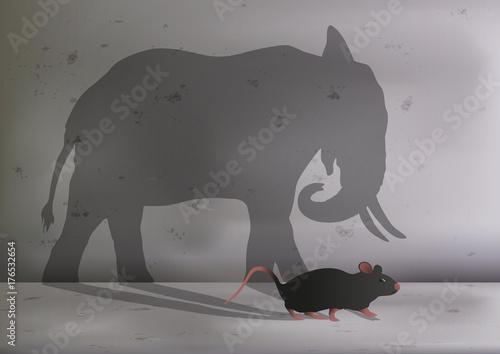 souris - rat - symbole - éléphant - ambition - grand - taille - concept - object Billede på lærred