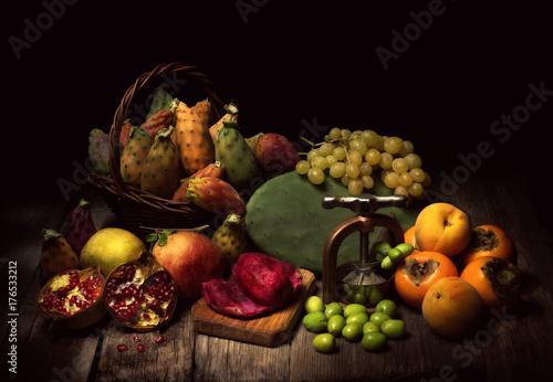 Fototapeta Natura morta con frutta autunnale