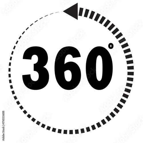 360 Degrees Icon On White Background Flat Style 360 Degrees Sign