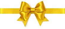 Beautiful Golden Bow And Horizontal Gold Ribbon Isolated On White. Decorative Vector Yellow Bow