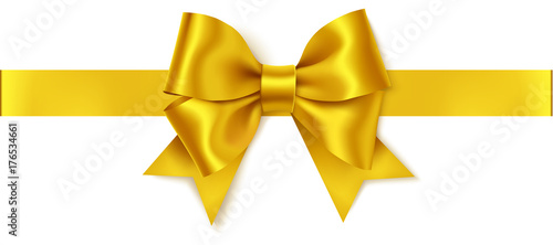 Beautiful golden bow and horizontal gold ribbon isolated on white Canvas Print