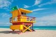 canvas print picture - Lifeguard Tower in South Beach, Miami Beach, Florida