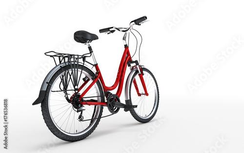 Fototapeta 3d ilustracja. Czerwony rower kobiet wygląda na prawo na białym tle. Widok z tyłu. Pojęcie sportu