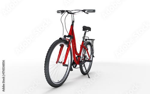 Fototapeta 3d ilustracja. Czerwony rower kobiet wygląda na prawo na białym tle. Pojęcie sportu