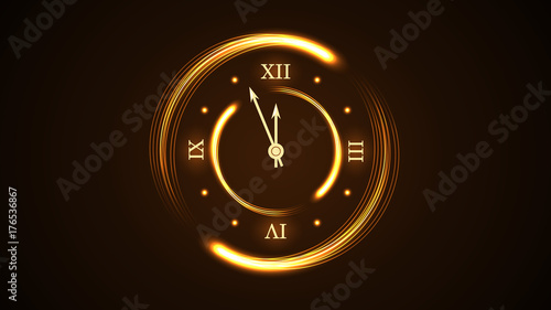 happy new year background magic gold clock countdown five minute time golden decoration card