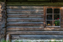 A Window In An Old Wooden House Of Traditional Housing Of The Indigenous Populations Of Estonia